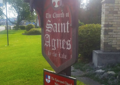 Saint Agnes church sign, Anglo-Catholic mission congregation, Christian prayers, Rev. Rob Hoppe, Rob Hoppe Vicar, St. Agnes Episcopal Church, God, Algoma, Wisconsin